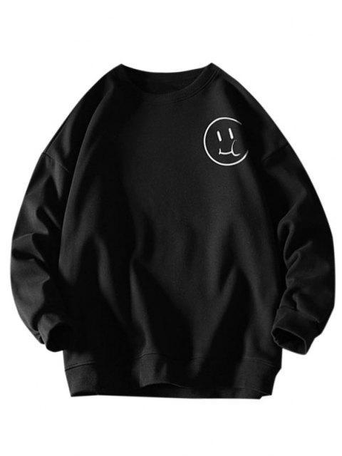 Lustiges Cartoon Gesicht Buchstabedruck Fallschulter Sweatshirt - Schwarz 2XL Mobile