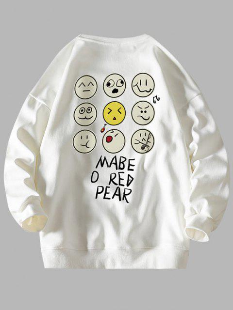 Lustiges Cartoon Gesicht Buchstabedruck Fallschulter Sweatshirt - Weiß L Mobile