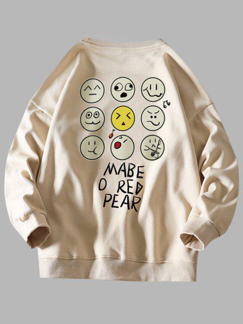 affordable Funny Cartoon Face Letter Print Drop Shoulder Sweatshirt - KHAKI S Mobile