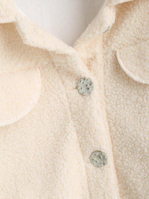 outfit Flap Detail Pocket Teddy Coat - WHITE M Mobile