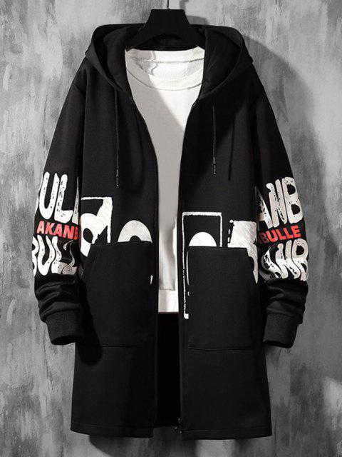 Mantel mit Kapuze und Doppelter Taschen - Schwarz S Mobile