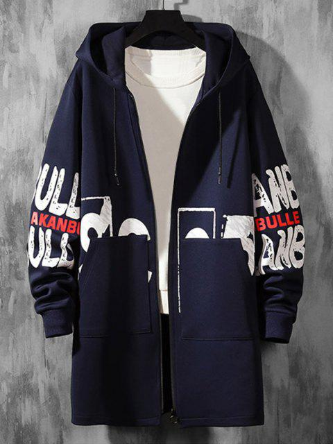 shops Hooded Double Pockets Letter Print Coat - CADETBLUE M Mobile