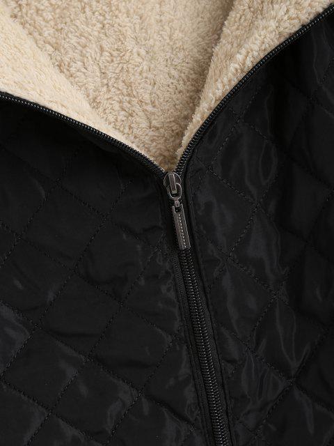 Manteau Doudoune à Capuche Matelassé avec Poche en Laine - Noir XL Mobile
