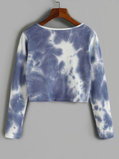 Camiseta Barriga de Fora com Corda Rugoso - Ardósia Azul Claro M Mobile