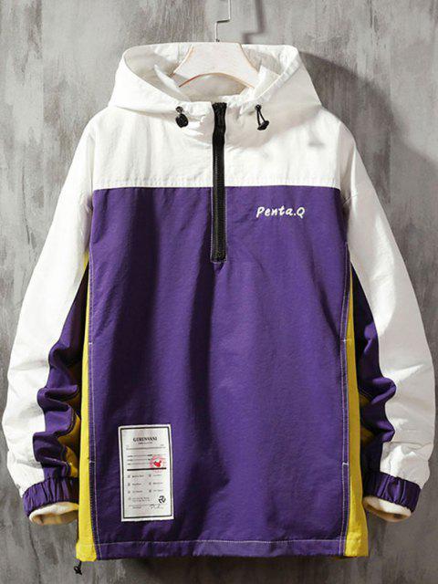 Farbblock Nähte Stickerei Patch Pullover Kapuzenjacke - Lila 2XL Mobile
