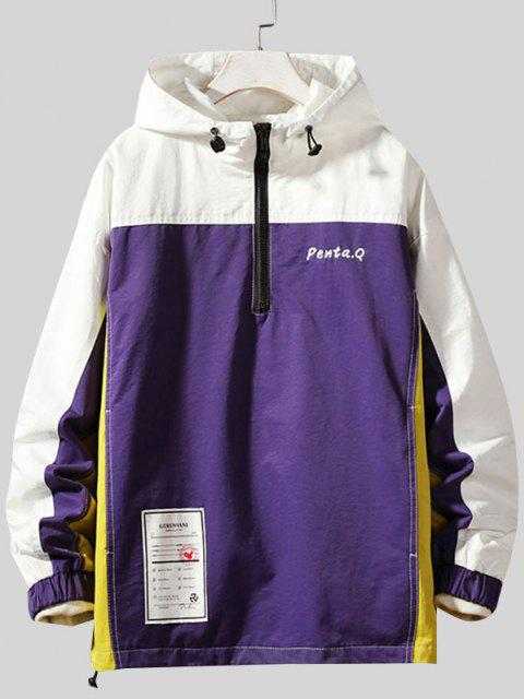 Colorblock Stitching Embroidery Patch Pullover Hooded Jacket - أرجواني 4XL Mobile