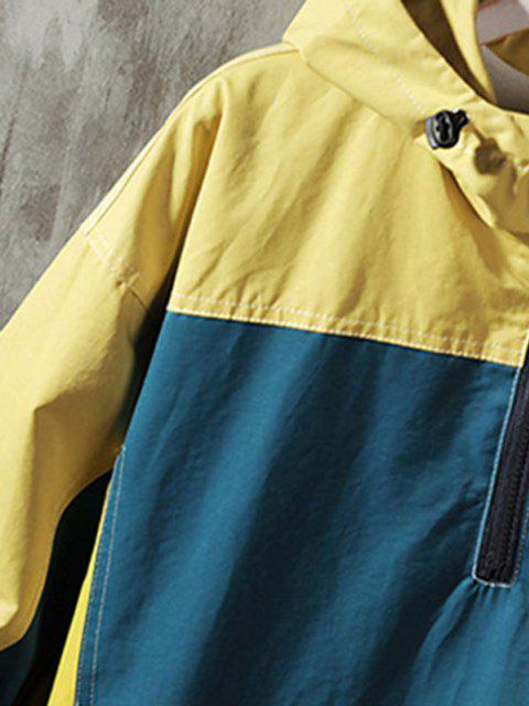 Giacca Pullover Ricamata a Blocchi di Colore con Cappuccio - Profondo blu M Mobile