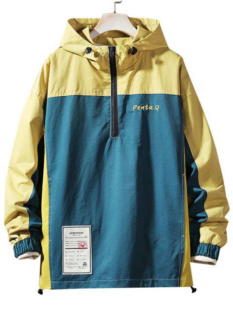 shop Colorblock Stitching Embroidery Patch Pullover Hooded Jacket - DEEP BLUE M Mobile