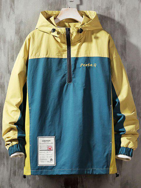 unique Colorblock Stitching Embroidery Patch Pullover Hooded Jacket - DEEP BLUE XL Mobile
