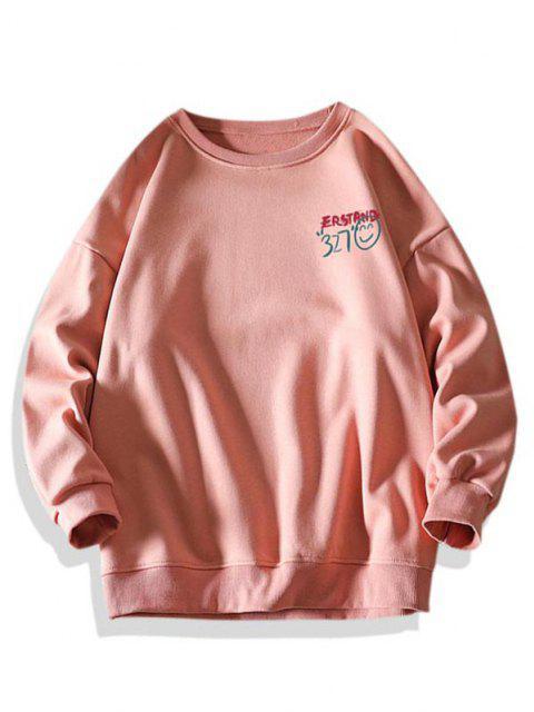 Sweat-shirt Lettre Graphique Visage Souriant à Col Rond - Rose  3XL Mobile