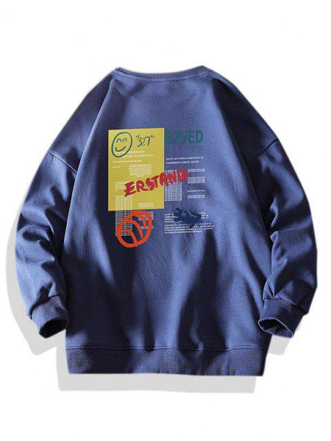 fashion Letter Smiling Face Graphic Crew Neck Sweatshirt - DEEP BLUE S Mobile