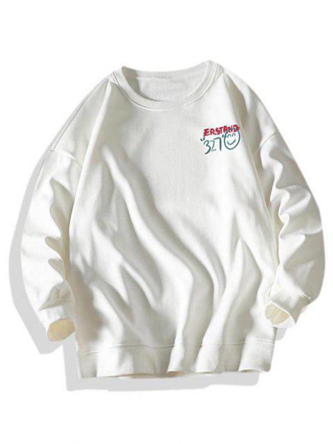 online Letter Smiling Face Graphic Crew Neck Sweatshirt - WHITE XL Mobile
