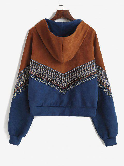 ZAFUL Tribal Patchwork Faux Suede Hooded Jacket - بني داكن S Mobile