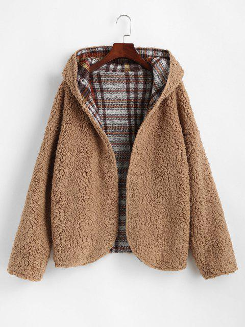 Hooded Reversible Open Front Fluffy Teddy Coat - متعدد M Mobile