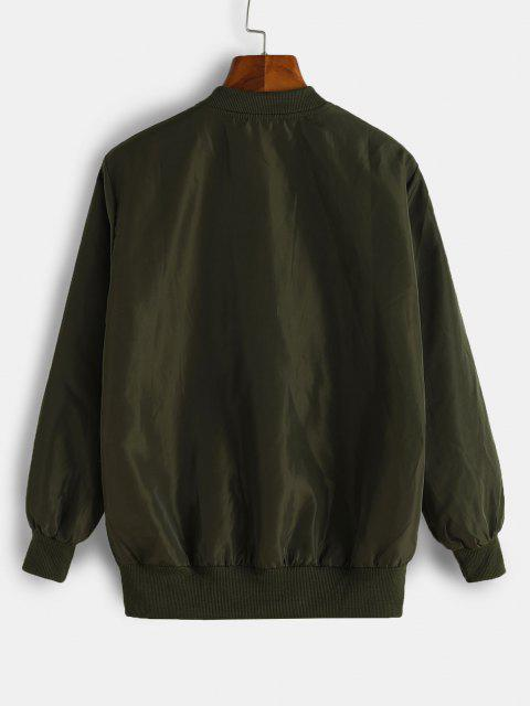 buy Graphic Embroidered Applique Detail Jacket - DEEP GREEN M Mobile