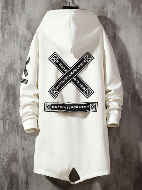 unique Hooded Letter Tape Detail Double Pockets Coat - WHITE XS Mobile