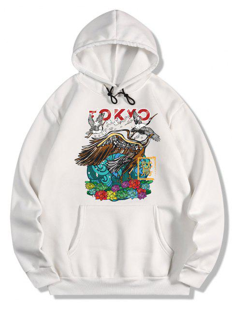 hot Flowers and Crane Print Fleece Hoodie - WHITE 2XL Mobile