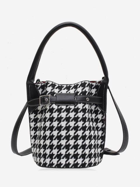 Retro Houndstooth Printed Bucket Bag - أسود  Mobile