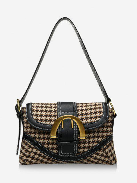women Retro Houndstooth Print Shoulder Bag - KHAKI  Mobile