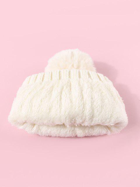new Rhinestone Letter Knitted Bubble Hat - MILK WHITE  Mobile