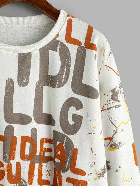 Sudadera Suelta Al Hombro Estampado Letras - Blanco L Mobile