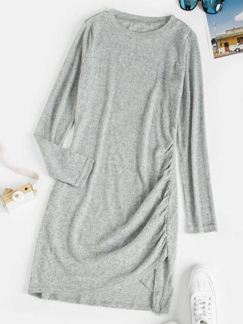women's Heather Knitted Ruched Tulip Dress - LIGHT GRAY M Mobile