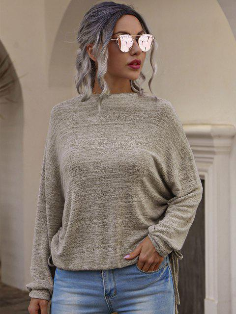 fashion Drop Shoulder Knitted Tee with Cinched - COFFEE XL Mobile