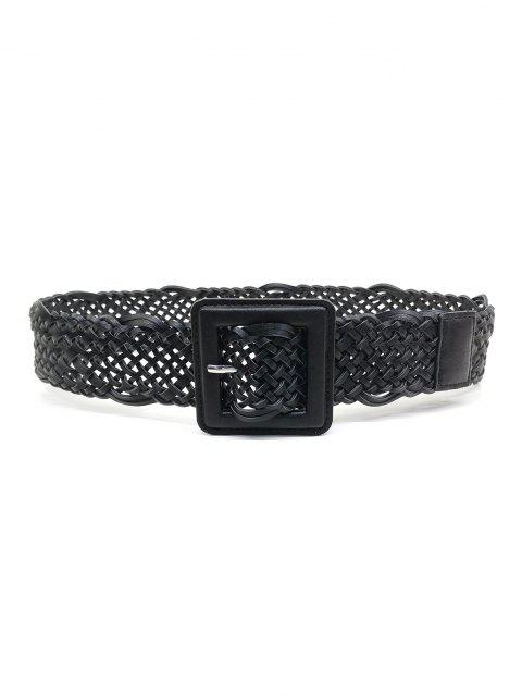 lady Braided Square Pin Buckle Belt - BLACK  Mobile