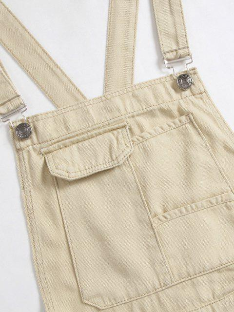 shops Multi-pocket Button Denim Overalls - TAN BROWN XL Mobile