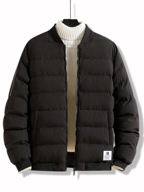 unique Letter Applique Zip Up Padded Jacket - BLACK XS Mobile