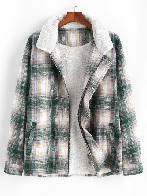 affordable Fluffy Lined Plaid Shirt Jacket - MULTI 2XL Mobile