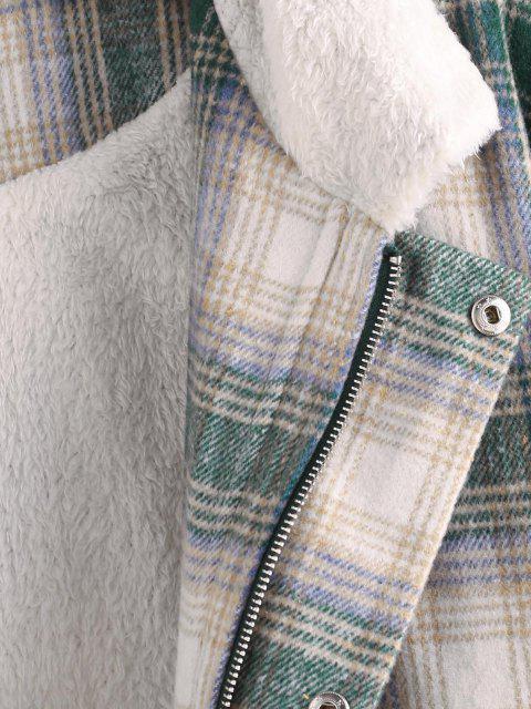 women's Fluffy Lined Plaid Shirt Jacket - MULTI L Mobile