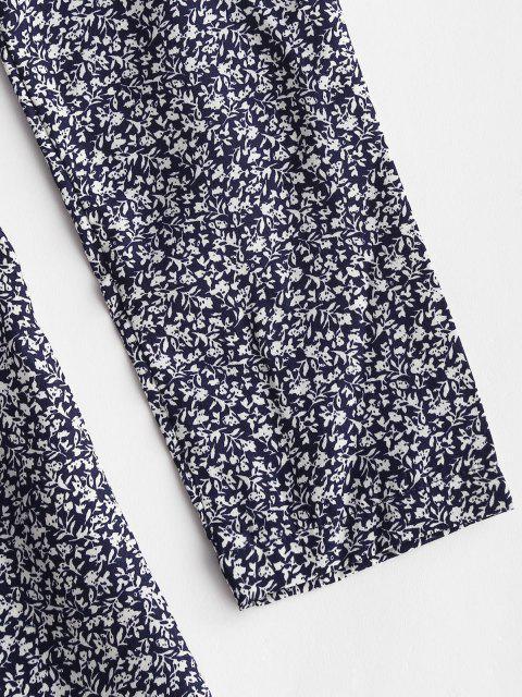 best Ditsy Floral Ruffles Long Sleeve Wrap Dress - DEEP BLUE XL Mobile