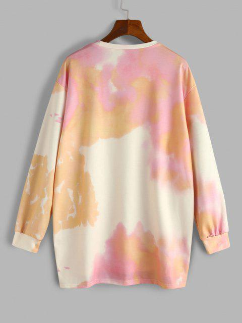 Tie Dye Rockmore Print Sweatshirt - أصفر فاتح L Mobile