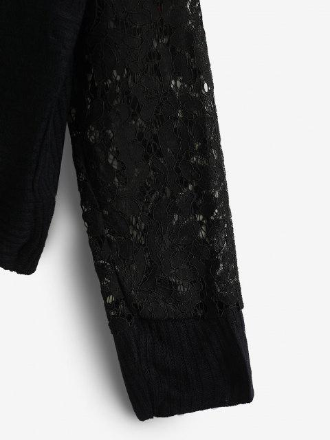 online Twisted Lace Insert Drop Shoulder Knitwear - BLACK L Mobile