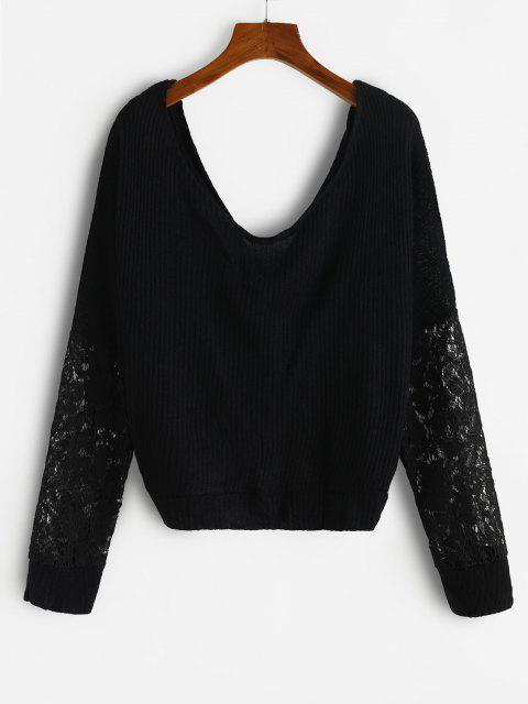 hot Twisted Lace Insert Drop Shoulder Knitwear - BLACK XL Mobile