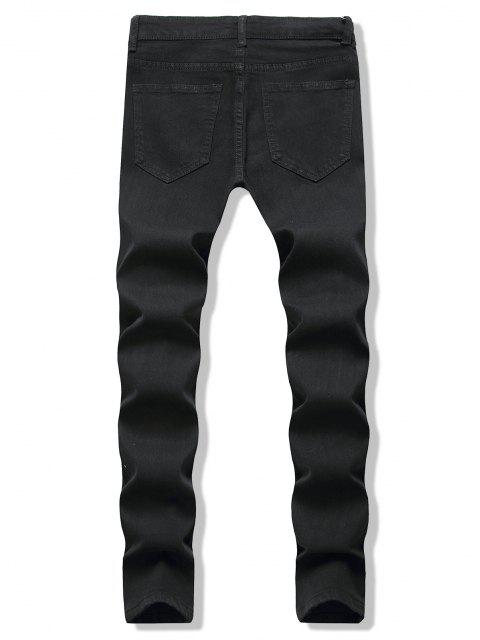 latest Distressed Destroy Wash Zipper Hem Jeans - BLACK 3XL Mobile