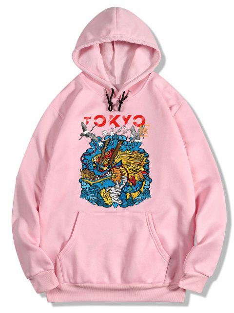 new Dragon Wave Print Oriental Fleece Hoodie - PIG PINK 2XL Mobile