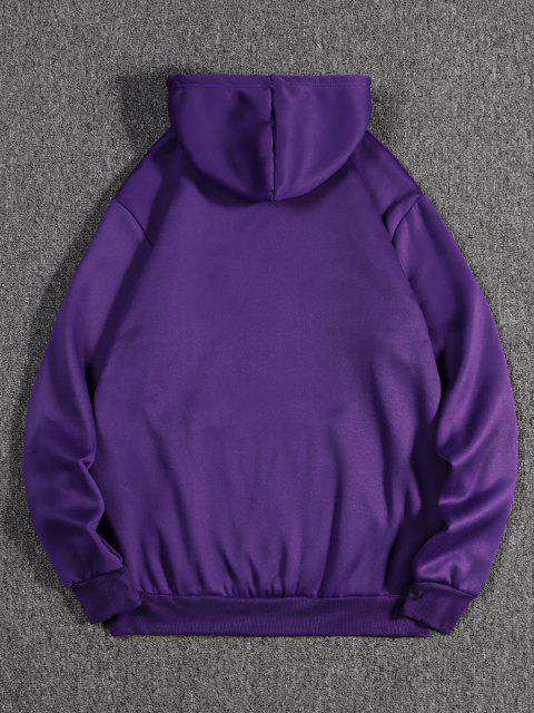 women's Dragon Wave Print Oriental Fleece Hoodie - PURPLE IRIS S Mobile