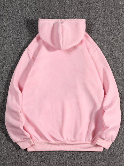 outfits Dragon Wave Print Oriental Fleece Hoodie - PIG PINK M Mobile