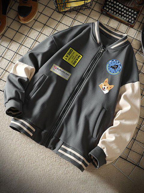 buy Colorblock Dog Letter Print Baseball Jacket - DARK GRAY XL Mobile