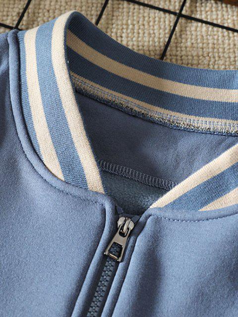 Veste de Base-ball Chien Lettre Imprimée en Blocs de Couleurs - Bleu Toile de Jean 3XL Mobile