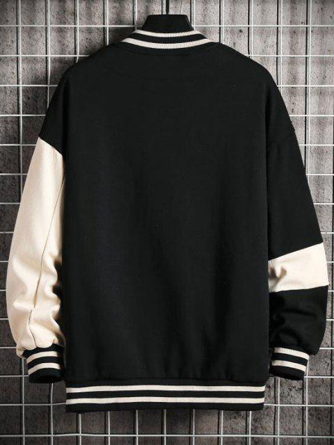Veste de Base-ball Chien Lettre Imprimée en Blocs de Couleurs - Noir 2XL Mobile