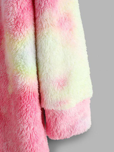 new Tie Dye Pattern Fluffy Sweatshirt Dress - PINK M Mobile