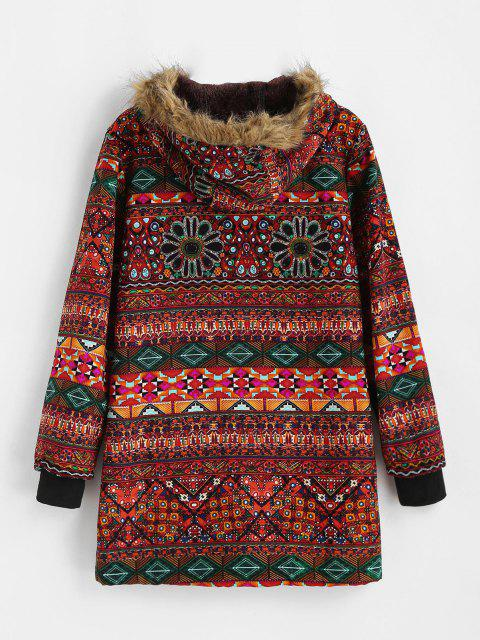 shops Fur Collar Fleece Lined Tribal Print Coat - RED S Mobile