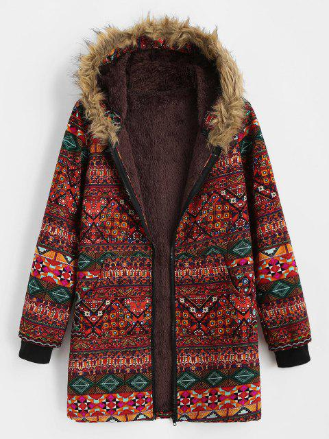 affordable Fur Collar Fleece Lined Tribal Print Coat - RED M Mobile