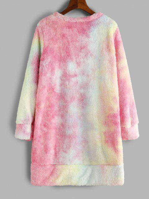 online Tie Dye Pattern Fluffy Sweatshirt Dress - PINK XL Mobile