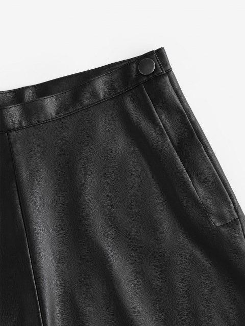 shop Faux Leather High Waisted Hot Shorts - BLACK L Mobile