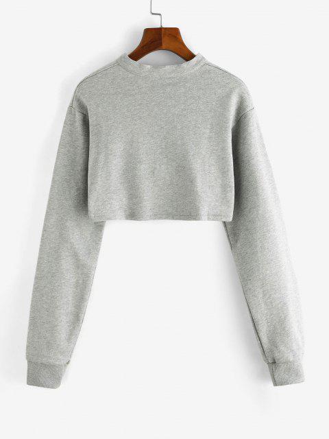 best Cropped Zip Up Sweatshirt - LIGHT GRAY M Mobile