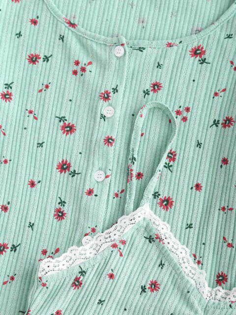 shops Button Up Ditsy Floral Lace Trim Top Set - GREEN S Mobile